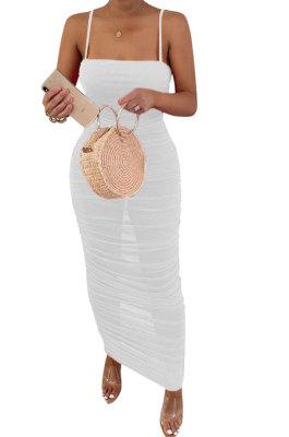 Pure Color Net Yarn Perspective Sexy Condole Belt Ruffle Long Dress Q886