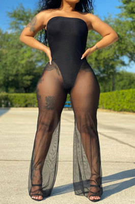Net Yarn Perspective Sexy Plus Jumpsuit SH7269