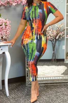 Short Sleeve Sexy Printing Midi Dress SH7264