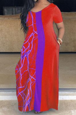 Plus Size Loose Printing Short Sleeve Long Dress SH7265