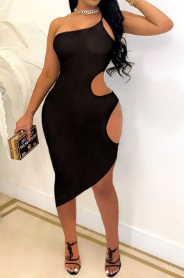 Pure Color Sexy Hollow Out Club Mini Dress SH7263