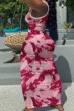 Women V Neck Tie Dye Printing Screw Thread Long Dress Q882