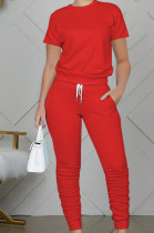 Fashion Casual Pure Color Round Neck Short Long Pants Sets WY6762