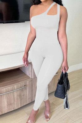 Casual Tight Seyx Inclined Shoulder Condole Belt Pure Color Bodycon Jumpsuits MF6621