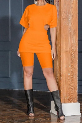 Fashion Casual Temperament Hollow Out Zipper Pure Color Shorts Sets MR2094