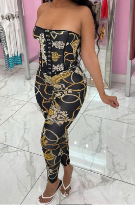 Trendy Sexy Top Vest Backless Cultivate One's Morality Printing Pants Sets MR2095