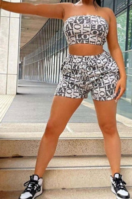Fashion Letter Printing Chest Wrap Shorts Sets ML7442
