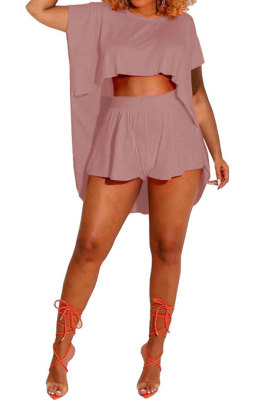 Trendy Casual Pure Color Round Neck Loose Batwing Sleeve Top Shorts Sets MR2092