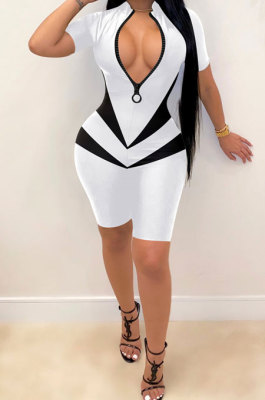 Sexy Color Matching Zipper Romper Shorts FFE133