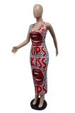 Fashion Sexy Long Skirt Lip Position Print Dress GHH052