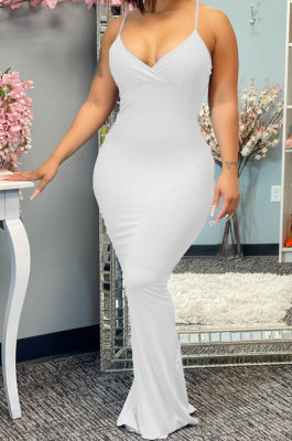 Pure Color Condole Belt Open Fork Package Buttocks Long Dress CY1330
