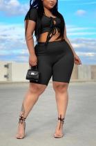 Pure Color Stripe Fashion Casual Band Hollow-Out Shorts Sets QQX1215