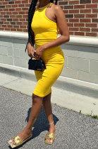 Pure Color Cultivate One's Morality Vest Midi Dress HR8181