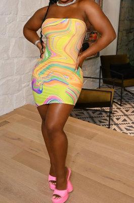 Digital Printing Bandeau Bra Package Buttocks Mini Dress CY1337