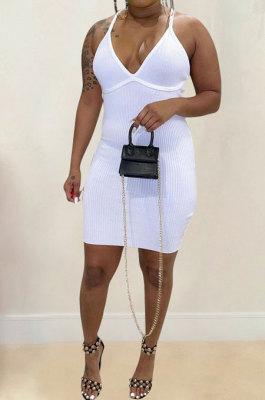 Women Pure Color Pit Bar Temperament Condole Belt Mini Dress FFE136