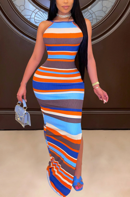 Sexy Colorful Striped Print Dress With Halter Back BDF8076