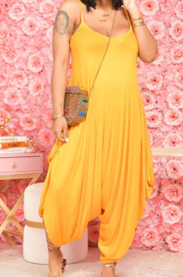 Sexy Pure Color Sling Wide Leg Jumpsuits E8598