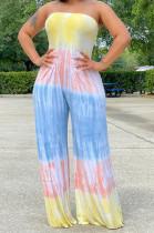 Euramerican Summer Tie Dye Loose Tube Jumpsuits QSS51008