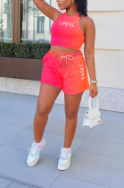 Casual Sleeveless Round Neck Gradient Letter Print  Shorts Sets HHB4022