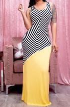 Summer Casual Sleeveless Vest Spliced Positioning Print Long Dress E8599