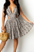 Sexy Fashion Deep V Printing Dress QSS51009