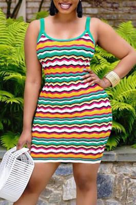 Fashion Casual Stripe Printing Vest Mini Dress LSZ91160