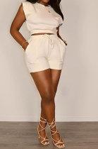 Women Pure Color Sleeveless Shorts Sets LD9165