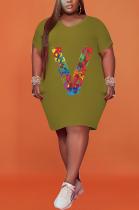 Plus Size Print V Fashion Loose Short Sleeved Dress HHB4027