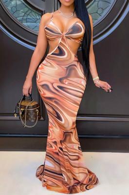 Fashion Casual Print Sling Backless Long Dress SY8812