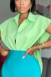 LD9154 Button Design Plain Sleeveless V Shirt