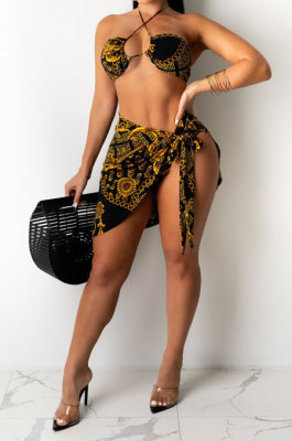 Women Leopard Fashion Bikini Swimsuit Cloak Three Pieces Swimsuits LD9168