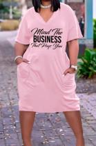 Casual Loose V Neck Letter Printing T Shirt Dress Have Pocket TK6182
