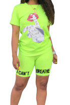 Euramerican Casual Sports Pure Color Graphic Letter Two-Piece ZY8061