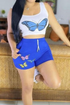 Euramerican Casual Printing Vest Shorts Two-Piece OEP6268