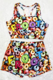 Sexy Pattern Printing Vest Yoga Shorts Sets SDD9353