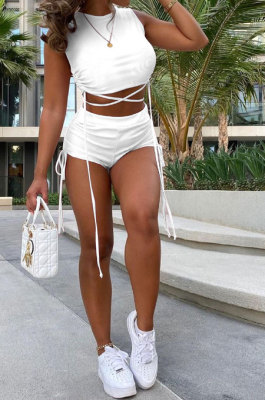 Shirred Detail Knotted Strap Short Sleeve Navel Exposure Pure Color Shorts Sets GB8009
