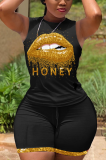 Black Color Print Lip Sport Sleeveless Shorts Sets LW8848