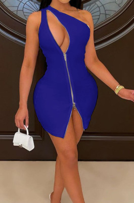 Euramerican Inclined Shoulder Two-Way Zipper Pure Color Dress CYY011