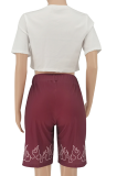 Burgundy Positioning Printing Casual Sport Two-pieces SMY8078