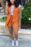 Striped OL Sleeveless Print Jacket Buttons Shorts Sets  YM192