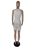 White Color Print Lip Sport Sleeveless Shorts Sets LW8848