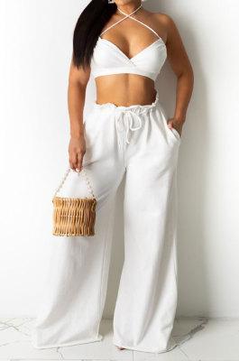 Sexy Women Pure Color Condole Belt Boob Tube Top Loose Long Pants Halter Neck Fashion Sets DY6966