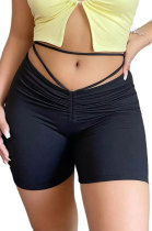 Sexy Pure Color Shirred Detail Ruffle Bandage Casual Shorts GL6377
