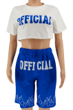 Blue Positioning Printing Casual Sport Two-pieces SMY8078