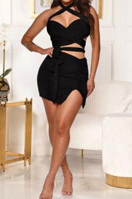 Sexy Bandage Open Fork Ruffle Skirts Sets GL6380