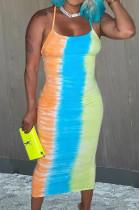 Euramerican Tie Dye Fashion Sexy Sling Dress LJJ6063