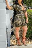 Fashion Cardigan Waist Camouflage Zipper Casual Jumpsuit YM183
