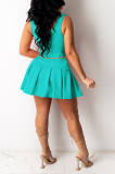Sexy V-Neck Sleeveless Fold Pure Color Skirt  Sets MD410