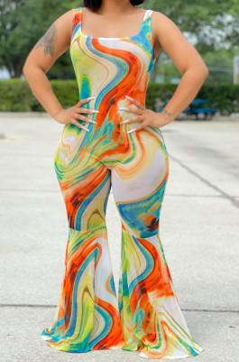 Summer Tie Dye Printing Big Flare Sexy Jumpsuits WM2520