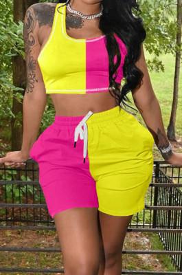 Contrast Color Spliced Casual Sports Sets Have Pocket LMM8252